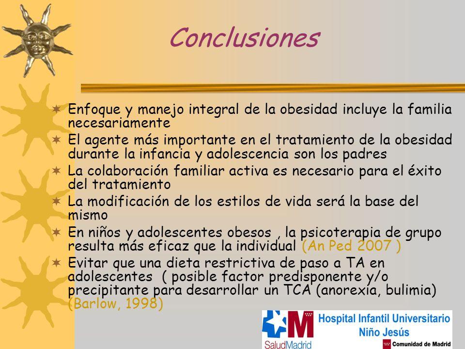 Conclusiones Enfoque y manejo integral de la obesidad incluye la familia necesariamente El agente más importante en el tratamiento de la obesidad dura