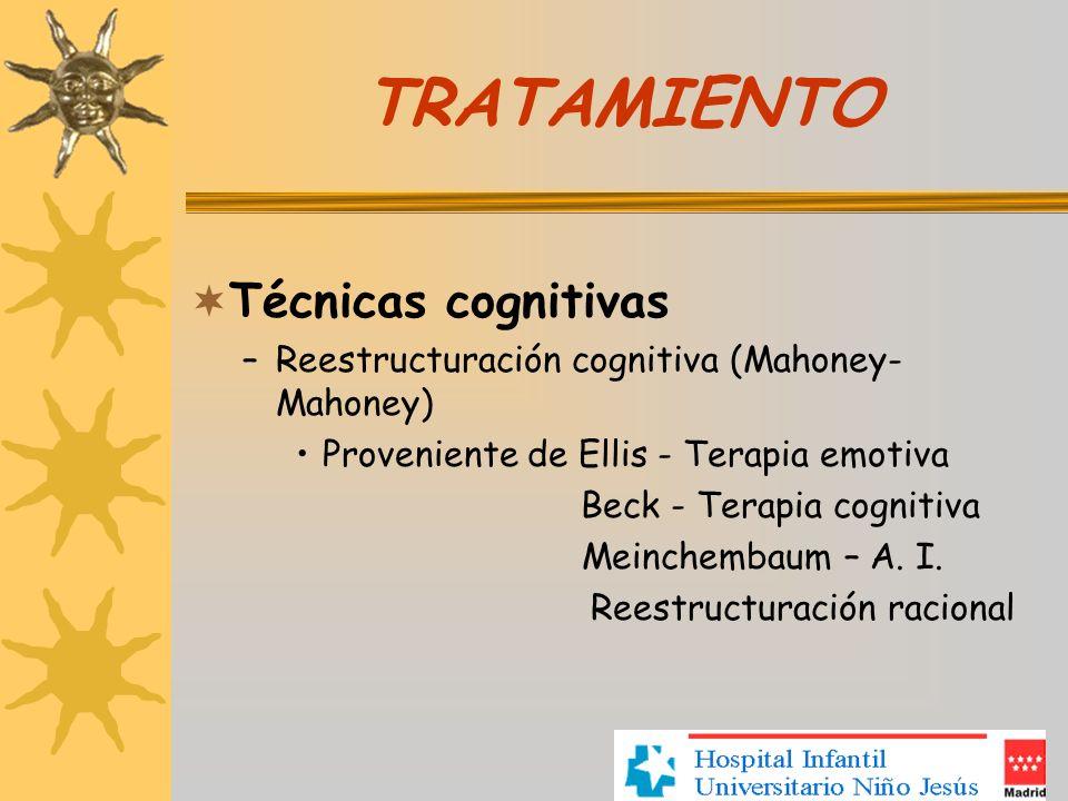TRATAMIENTO Técnicas cognitivas –Reestructuración cognitiva (Mahoney- Mahoney) Proveniente de Ellis - Terapia emotiva Beck - Terapia cognitiva Meinche