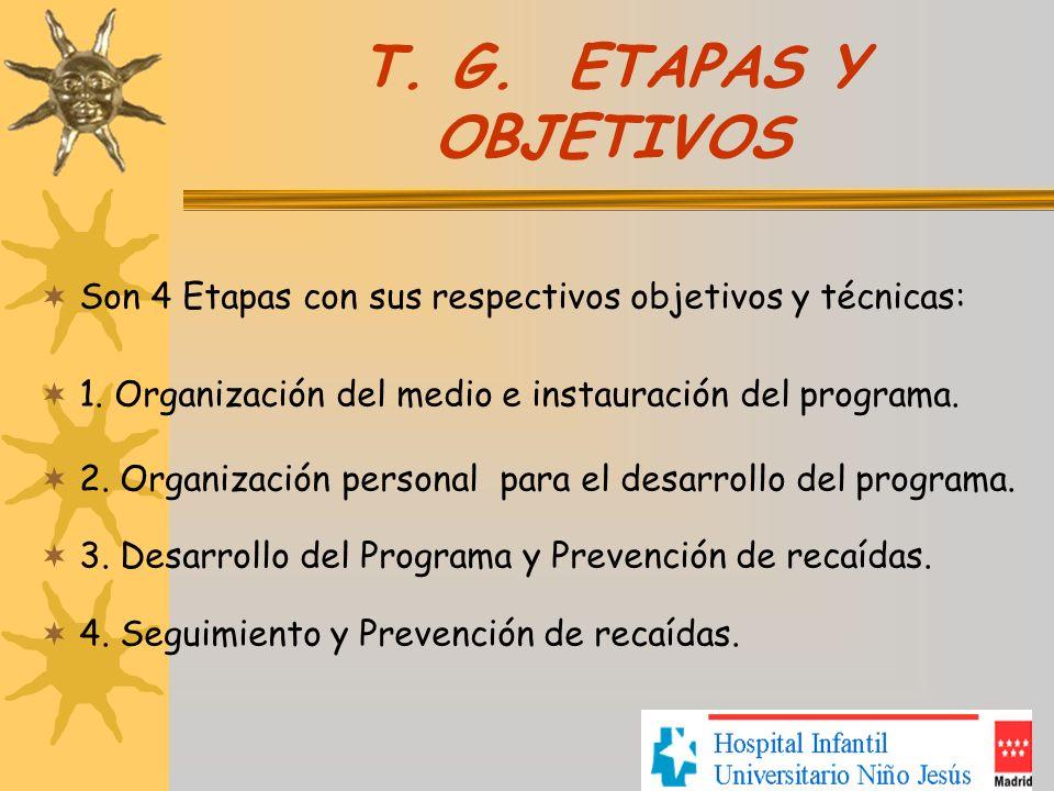 T. G. ETAPAS Y OBJETIVOS Son 4 Etapas con sus respectivos objetivos y técnicas: 1. Organización del medio e instauración del programa. 2. Organización