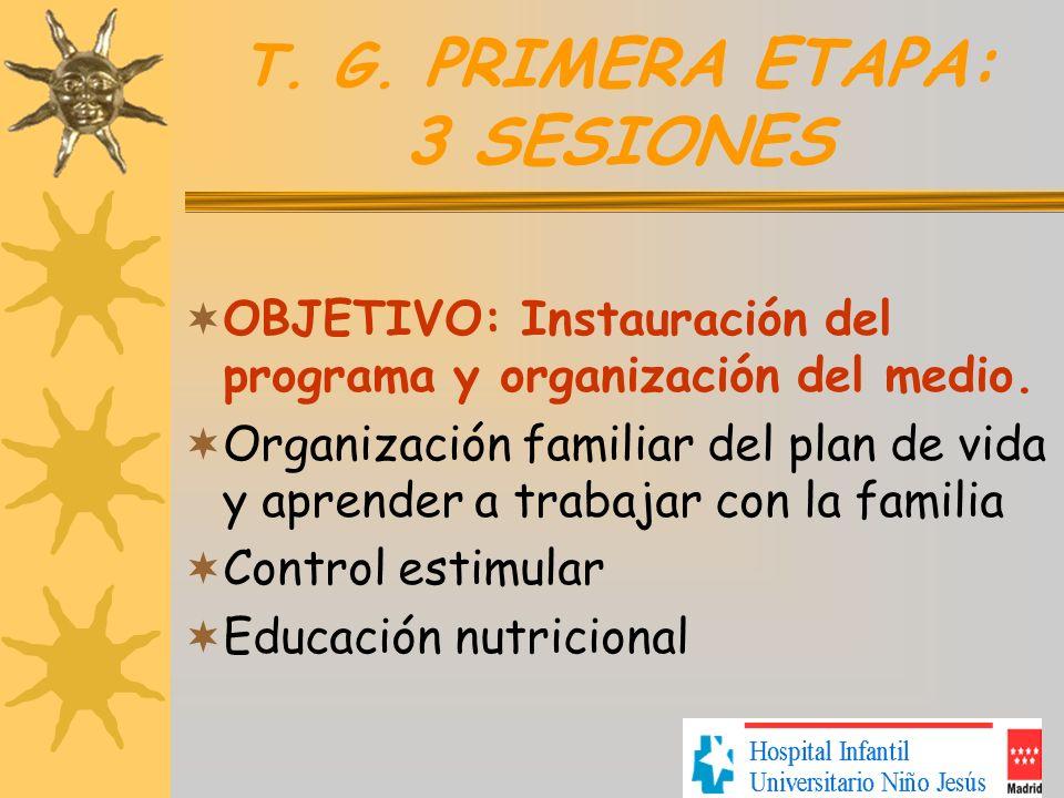T. G. PRIMERA ETAPA: 3 SESIONES OBJETIVO: Instauración del programa y organización del medio. Organización familiar del plan de vida y aprender a trab
