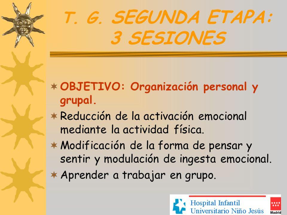 T. G. SEGUNDA ETAPA: 3 SESIONES OBJETIVO: Organización personal y grupal. Reducción de la activación emocional mediante la actividad física. Modificac