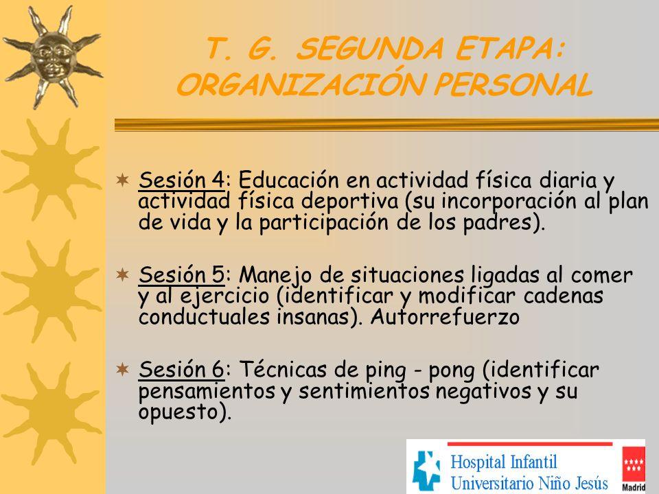 T. G. SEGUNDA ETAPA: ORGANIZACIÓN PERSONAL Sesión 4: Educación en actividad física diaria y actividad física deportiva (su incorporación al plan de vi