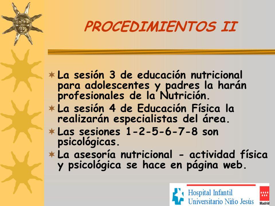 PROCEDIMIENTOS II La sesión 3 de educación nutricional para adolescentes y padres la harán profesionales de la Nutrición. La sesión 4 de Educación Fís
