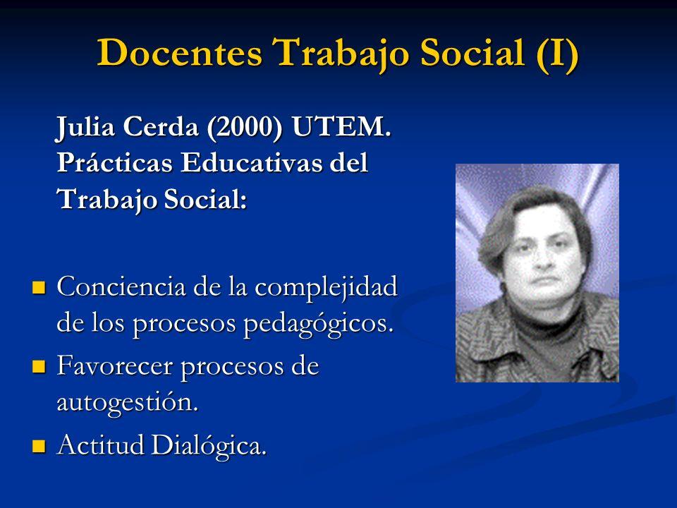 Docentes Trabajo Social (I) Julia Cerda (2000) UTEM. Prácticas Educativas del Trabajo Social: Conciencia de la complejidad de los procesos pedagógicos