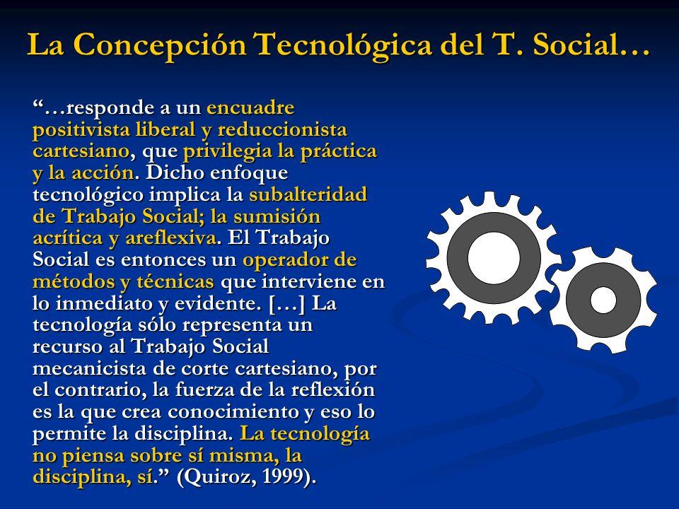 La Concepción Tecnológica del T. Social… …responde a un encuadre positivista liberal y reduccionista cartesiano, que privilegia la práctica y la acció