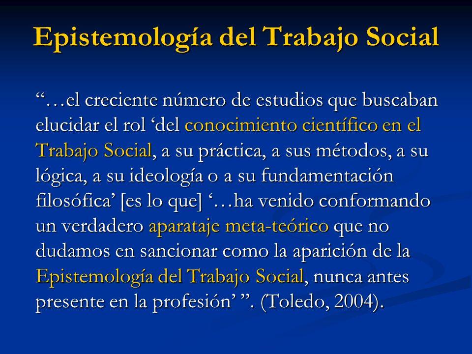 Epistemología del Trabajo Social …el creciente número de estudios que buscaban elucidar el rol del conocimiento científico en el Trabajo Social, a su
