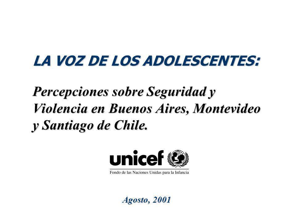 LA VOZ DE LOS ADOLESCENTES : Percepciones sobre Seguridad y Violencia en Buenos Aires, Montevideo y Santiago de Chile. Agosto, 2001