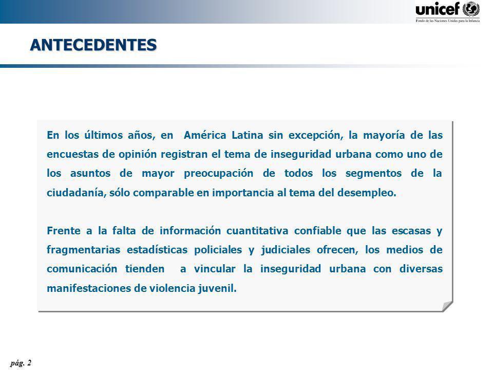 pág. 2 ANTECEDENTES En los últimos años, en América Latina sin excepción, la mayoría de las encuestas de opinión registran el tema de inseguridad urba