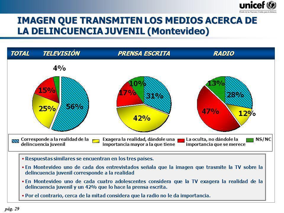 pág. 29 IMAGEN QUE TRANSMITEN LOS MEDIOS ACERCA DE LA DELINCUENCIA JUVENIL (Montevideo) TOTALTELEVISIÓNPRENSA ESCRITARADIO Respuestas similares se enc