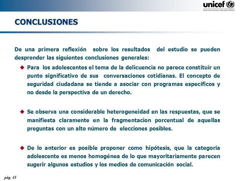pág. 45 CONCLUSIONES De una primera reflexión sobre los resultados del estudio se pueden desprender las siguientes conclusiones generales: uPara los a