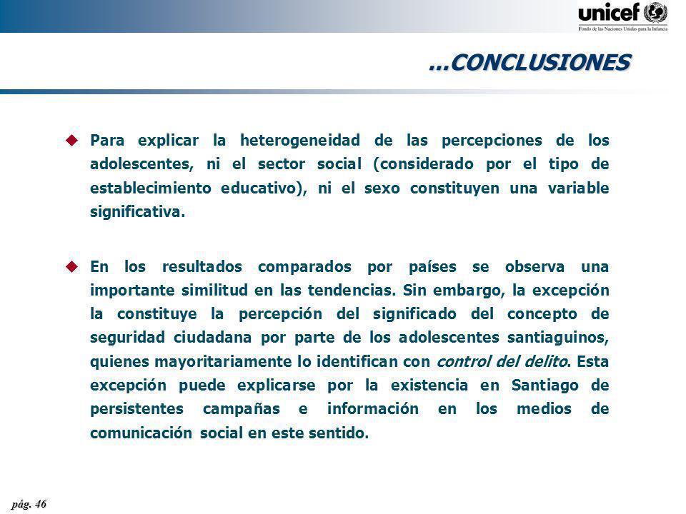 pág. 46...CONCLUSIONES uPara explicar la heterogeneidad de las percepciones de los adolescentes, ni el sector social (considerado por el tipo de estab