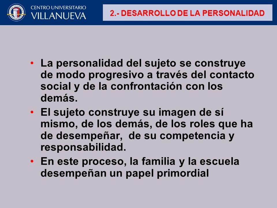 La personalidad del sujeto se construye de modo progresivo a través del contacto social y de la confrontación con los demás. El sujeto construye su im