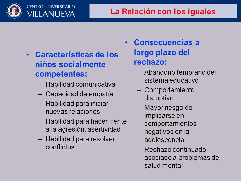 La Relación con los iguales Características de los niños socialmente competentes: –Habilidad comunicativa –Capacidad de empatía –Habilidad para inicia