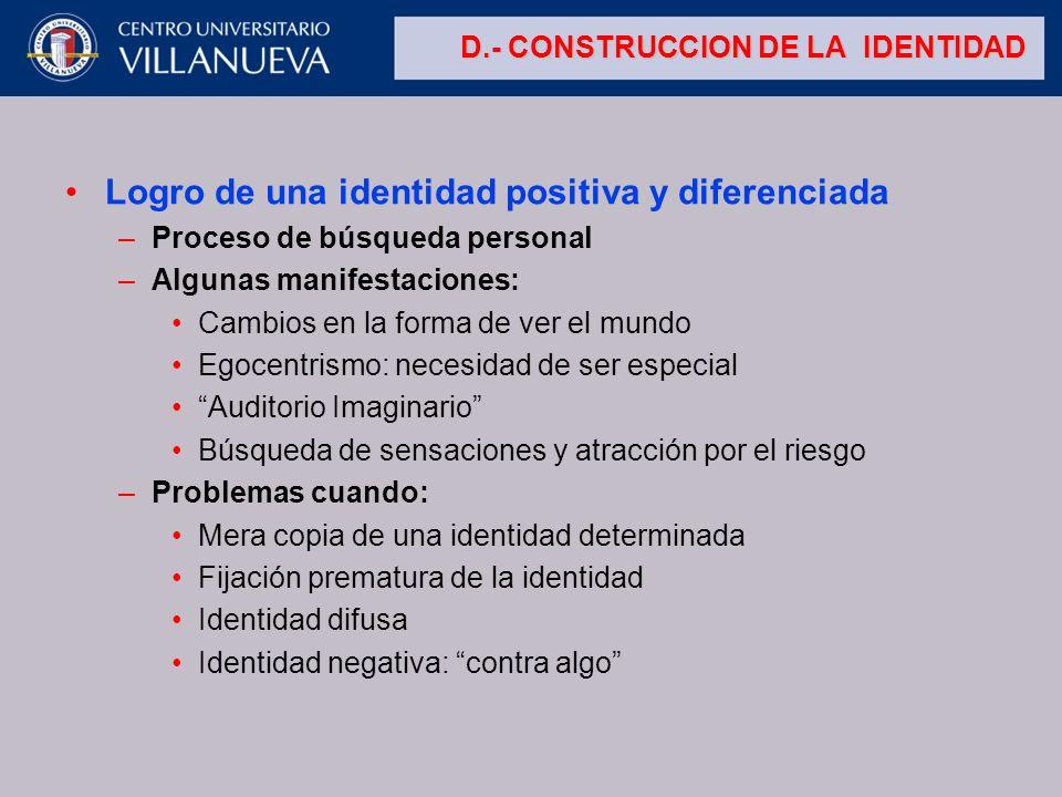D.- CONSTRUCCION DE LA IDENTIDAD Logro de una identidad positiva y diferenciada –Proceso de búsqueda personal –Algunas manifestaciones: Cambios en la