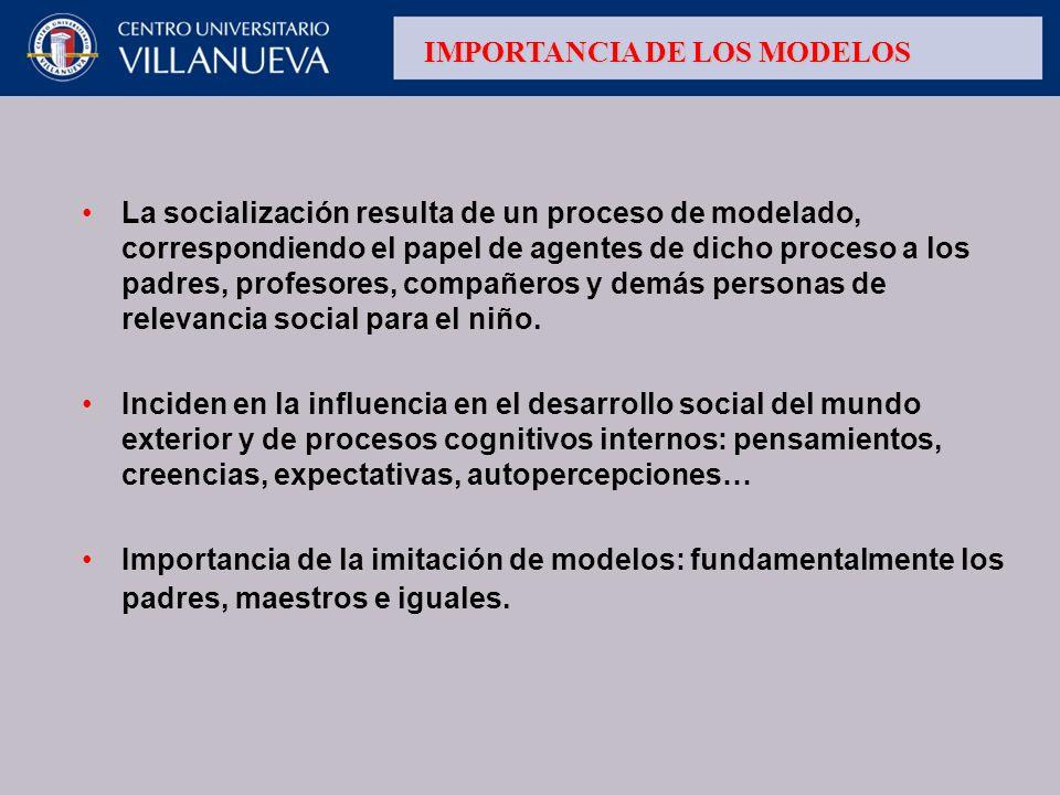 La socialización resulta de un proceso de modelado, correspondiendo el papel de agentes de dicho proceso a los padres, profesores, compañeros y demás