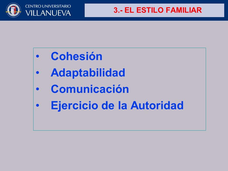 3.- EL ESTILO FAMILIAR Cohesión Adaptabilidad Comunicación Ejercicio de la Autoridad