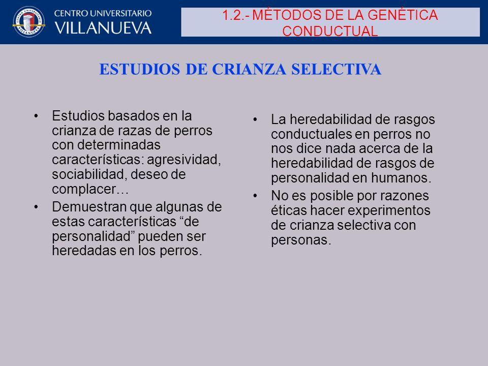 1.2.- MÉTODOS DE LA GENÉTICA CONDUCTUAL Estudios basados en la crianza de razas de perros con determinadas características: agresividad, sociabilidad,
