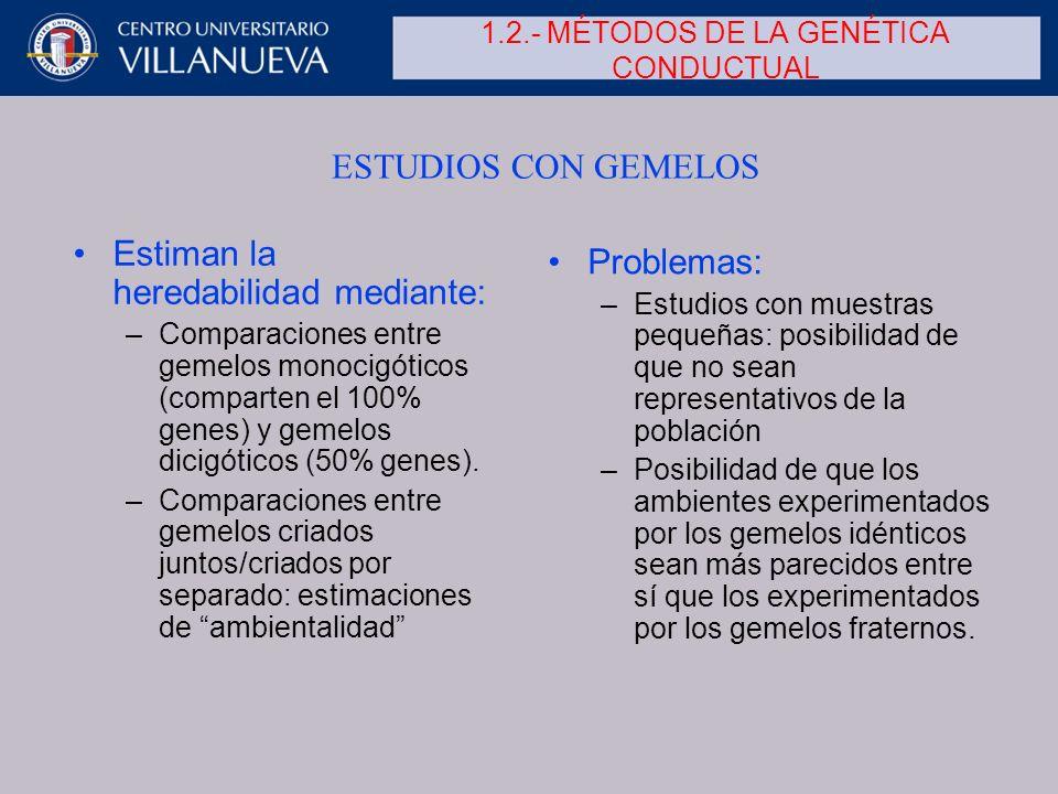 1.2.- MÉTODOS DE LA GENÉTICA CONDUCTUAL Estiman la heredabilidad mediante: –Comparaciones entre gemelos monocigóticos (comparten el 100% genes) y geme