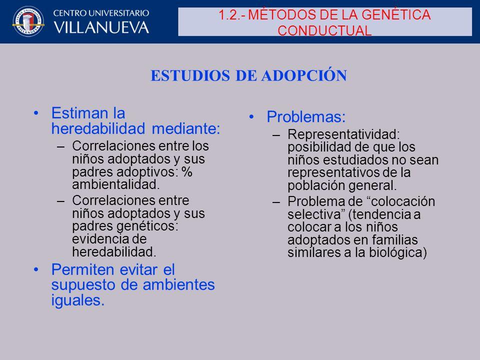 1.2.- MÉTODOS DE LA GENÉTICA CONDUCTUAL Estiman la heredabilidad mediante: –Correlaciones entre los niños adoptados y sus padres adoptivos: % ambienta