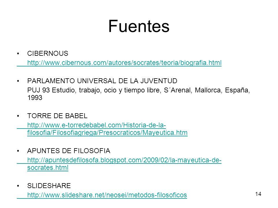 Fuentes CIBERNOUS http://www.cibernous.com/autores/socrates/teoria/biografia.html PARLAMENTO UNIVERSAL DE LA JUVENTUD PUJ 93 Estudio, trabajo, ocio y