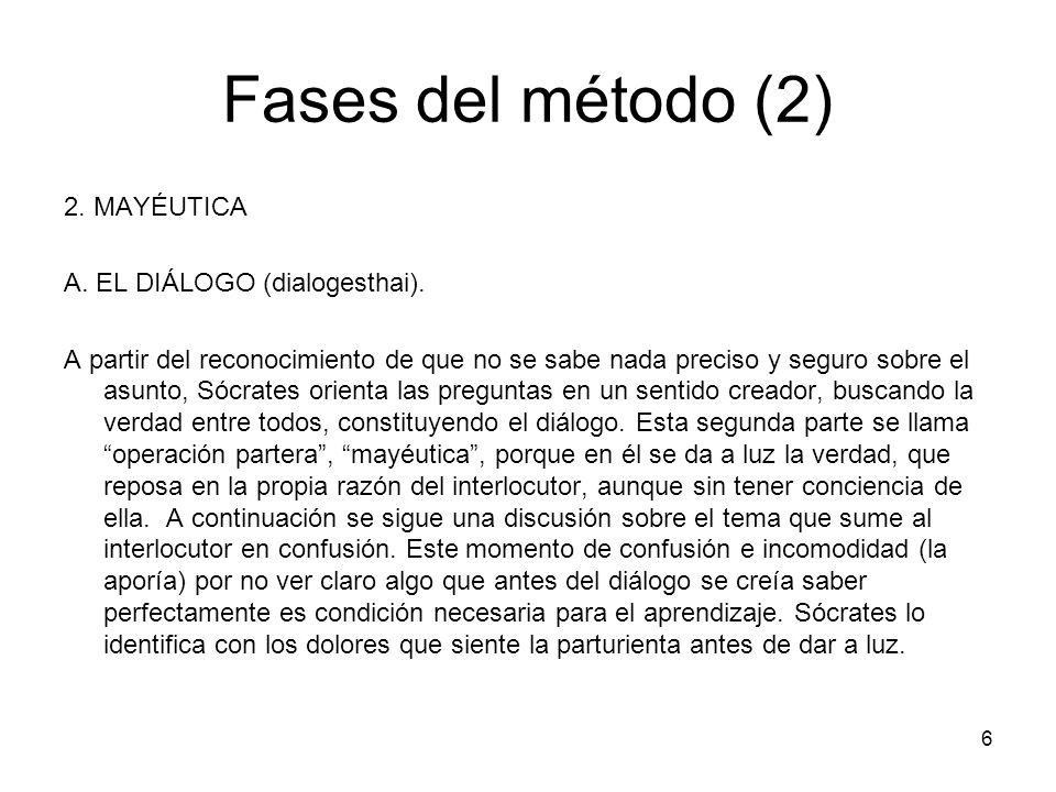 Fases del método (2) 2. MAYÉUTICA A. EL DIÁLOGO (dialogesthai). A partir del reconocimiento de que no se sabe nada preciso y seguro sobre el asunto, S