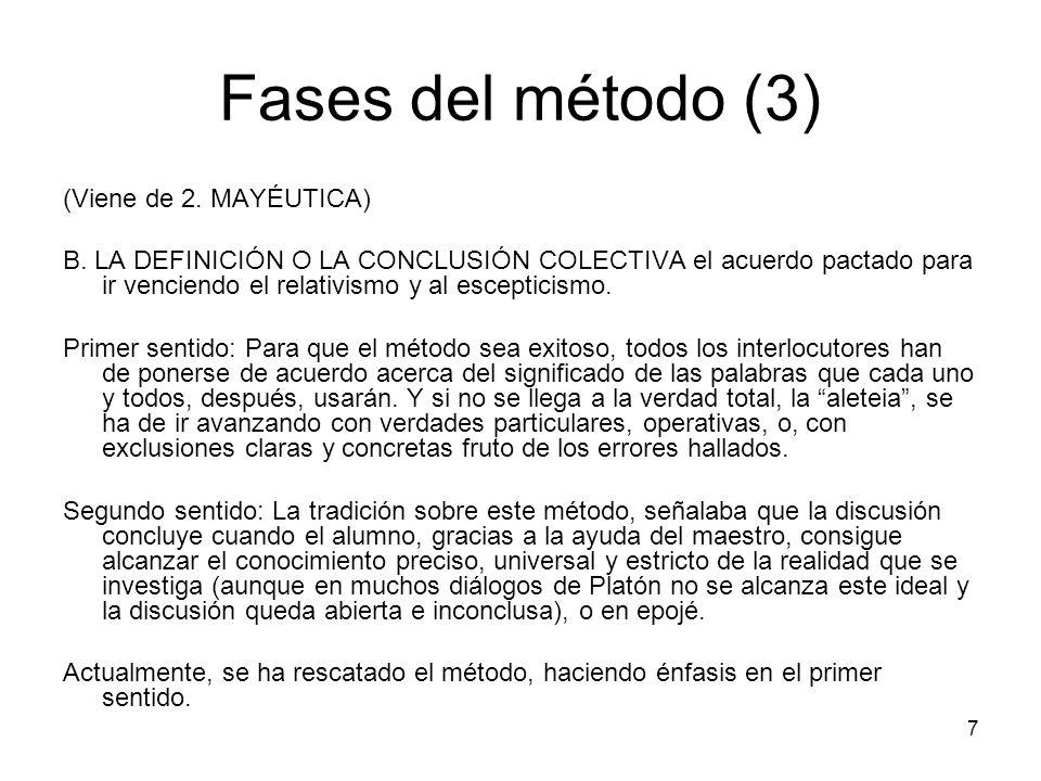 Fases del método (3) (Viene de 2. MAYÉUTICA) B. LA DEFINICIÓN O LA CONCLUSIÓN COLECTIVA el acuerdo pactado para ir venciendo el relativismo y al escep