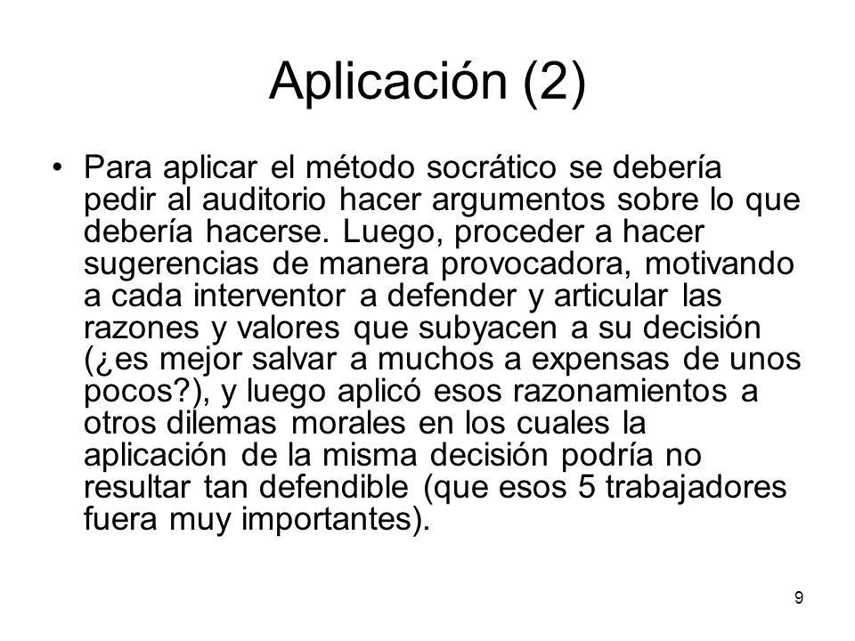 Aplicación (2) Para aplicar el método socrático se debería pedir al auditorio hacer argumentos sobre lo que debería hacerse. Luego, proceder a hacer s