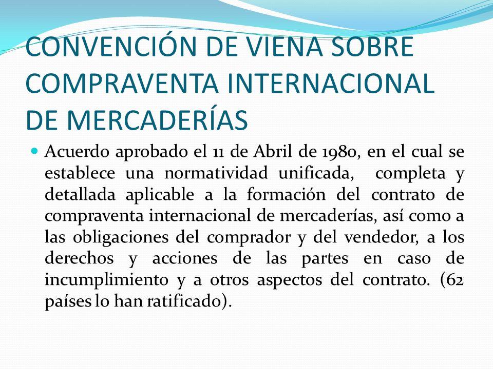 CONVENCIÓN DE VIENA SOBRE COMPRAVENTA INTERNACIONAL DE MERCADERÍAS Acuerdo aprobado el 11 de Abril de 1980, en el cual se establece una normatividad u