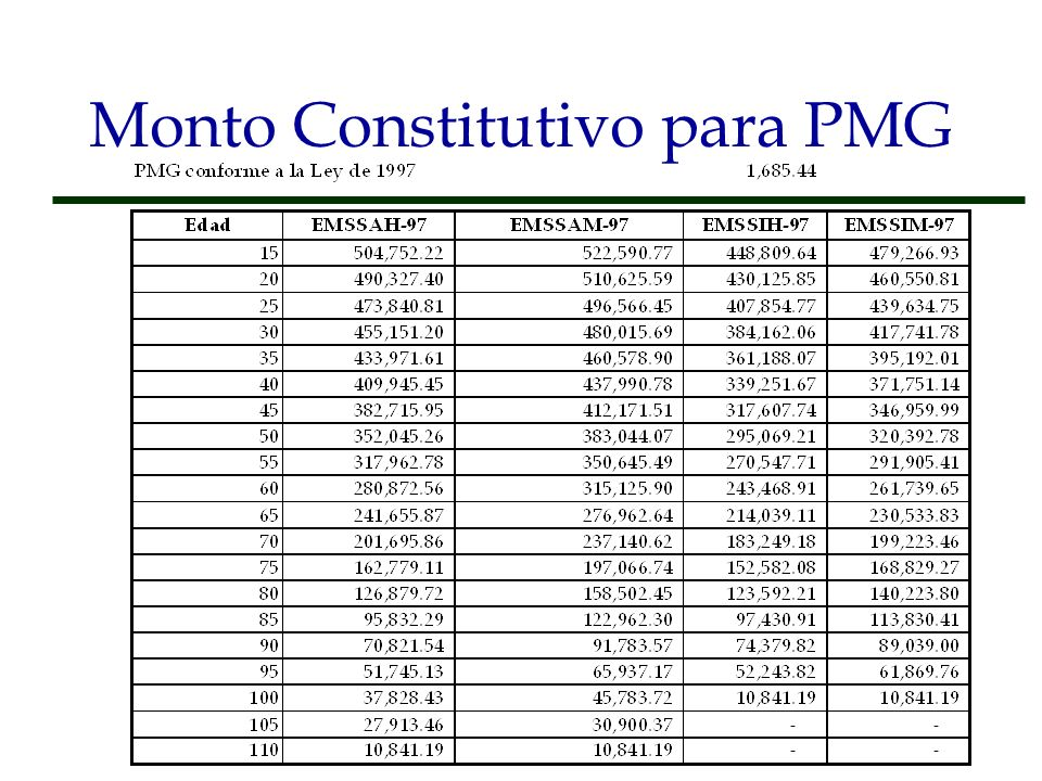 Monto Constitutivo para PMG