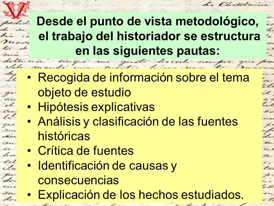 Desde el punto de vista metodológico, el trabajo del historiador se estructura en las siguientes pautas: Recogida de información sobre el tema objeto
