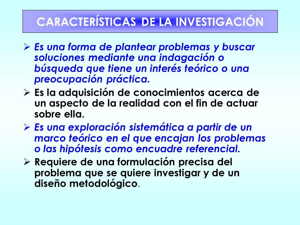 DIFERENCIA ENTRE INVESTIGACIÓN CIENTÍFICA Y MÉTODO CIENTÍFICO La investigación es un conjunto de fases en la búsqueda de una respuesta a una situación
