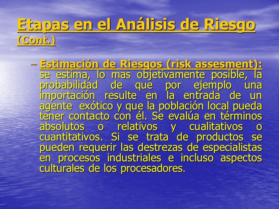 Etapas en el Análisis de Riesgo (Cont.) –Estimación de Riesgos (risk assesment): se estima, lo mas objetivamente posible, la probabilidad de que por e
