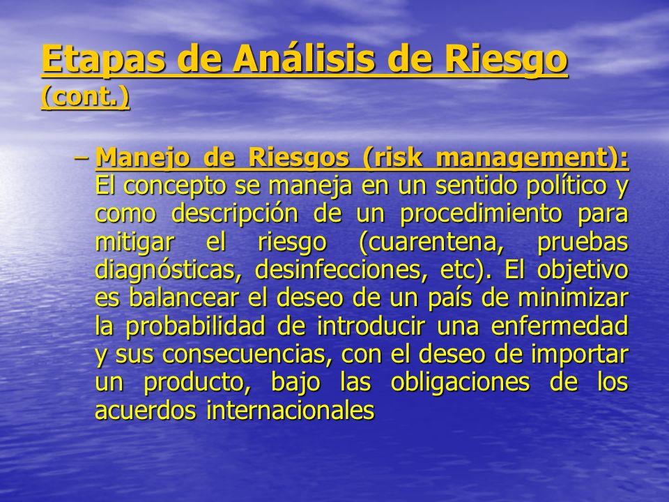 Etapas de Análisis de Riesgo (cont.) –Manejo de Riesgos (risk management): El concepto se maneja en un sentido político y como descripción de un proce