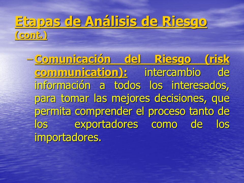 Etapas de Análisis de Riesgo (cont.) –Comunicación del Riesgo (risk communication): intercambio de información a todos los interesados, para tomar las
