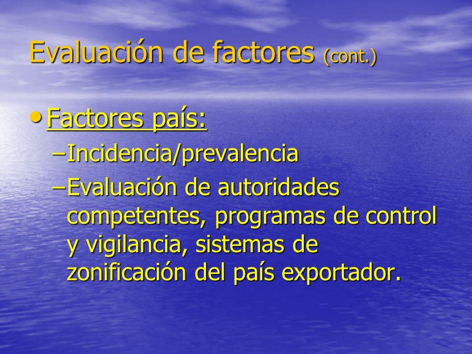 Evaluación de factores (cont.) Factores país: Factores país: –Incidencia/prevalencia –Evaluación de autoridades competentes, programas de control y vi
