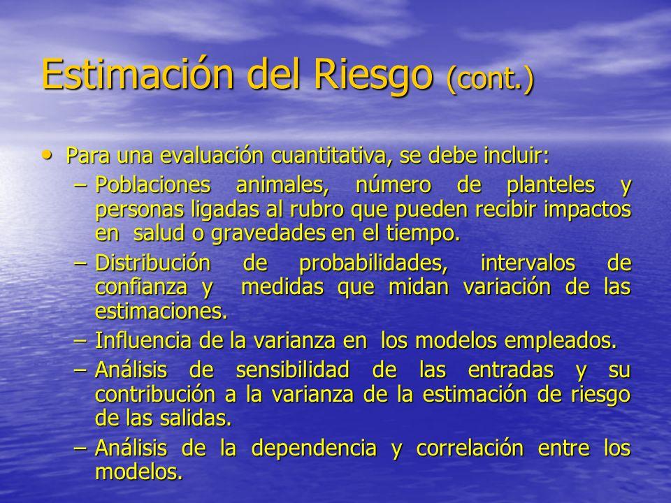 Estimación del Riesgo (cont.) Para una evaluación cuantitativa, se debe incluir: Para una evaluación cuantitativa, se debe incluir: –Poblaciones anima