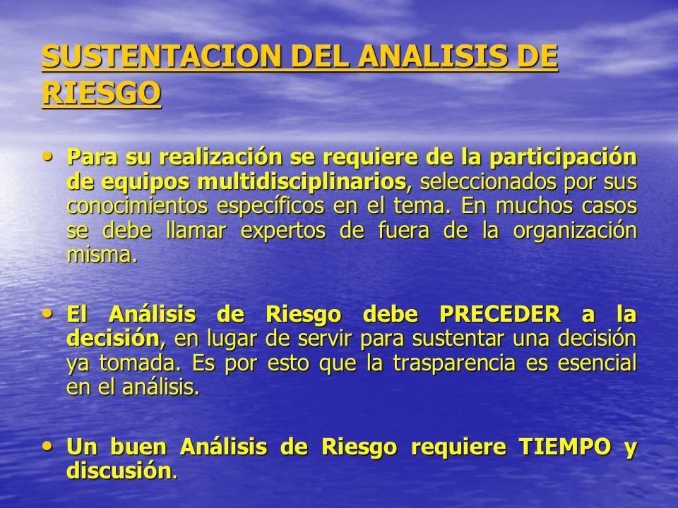 SUSTENTACION DEL ANALISIS DE RIESGO Para su realización se requiere de la participación de equipos multidisciplinarios, seleccionados por sus conocimi