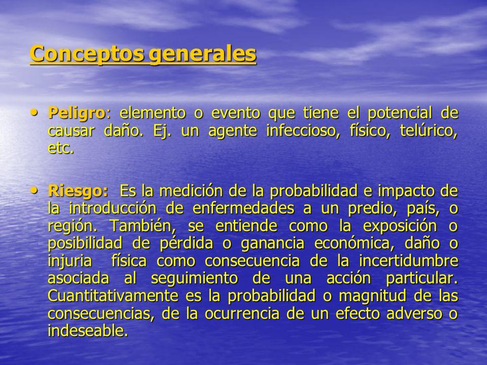 Conceptos generales Peligro: elemento o evento que tiene el potencial de causar daño. Ej. un agente infeccioso, físico, telúrico, etc. Peligro: elemen
