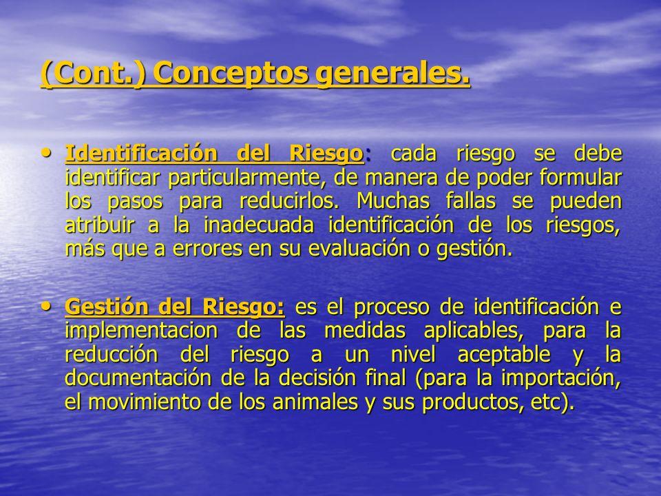 (Cont.) Conceptos generales. Identificación del Riesgo: cada riesgo se debe identificar particularmente, de manera de poder formular los pasos para re