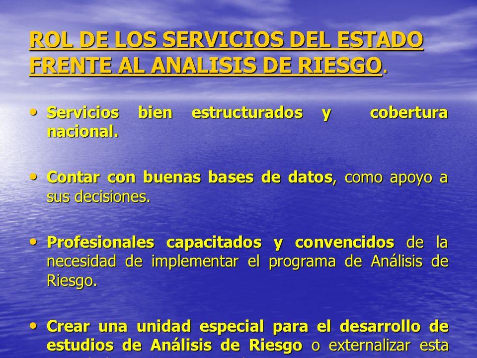 ROL DE LOS SERVICIOS DEL ESTADO FRENTE AL ANALISIS DE RIESGO. Servicios bien estructurados y cobertura nacional. Servicios bien estructurados y cobert