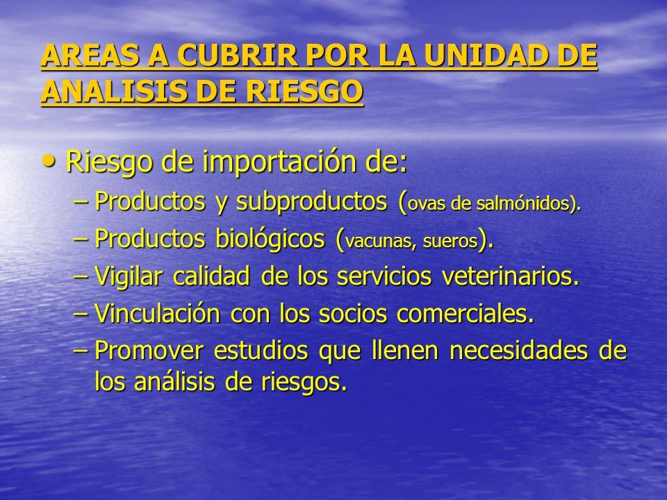 AREAS A CUBRIR POR LA UNIDAD DE ANALISIS DE RIESGO Riesgo de importación de: Riesgo de importación de: –Productos y subproductos ( ovas de salmónidos)
