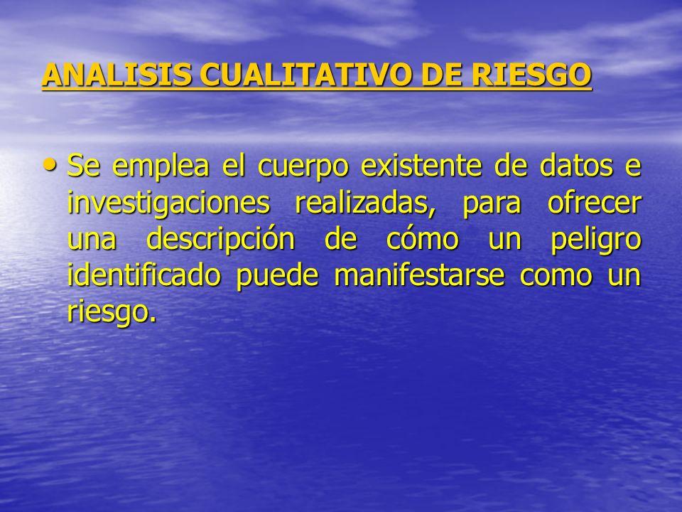 ANALISIS CUALITATIVO DE RIESGO Se emplea el cuerpo existente de datos e investigaciones realizadas, para ofrecer una descripción de cómo un peligro id