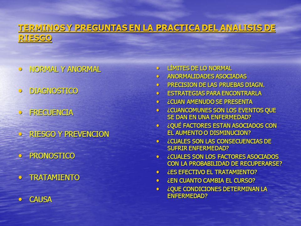 TERMINOS Y PREGUNTAS EN LA PRACTICA DEL ANALISIS DE RIESGO NORMAL Y ANORMAL NORMAL Y ANORMAL DIAGNOSTICO DIAGNOSTICO FRECUENCIA FRECUENCIA RIESGO Y PR