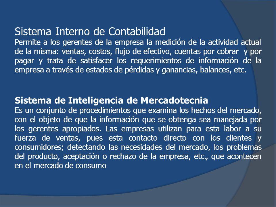 Sistema Interno de Contabilidad Permite a los gerentes de la empresa la medición de la actividad actual de la misma: ventas, costos, flujo de efectivo