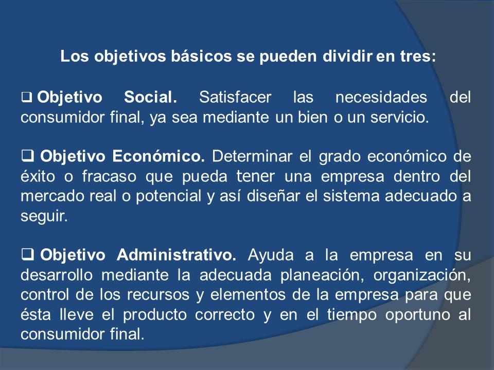 Los objetivos básicos se pueden dividir en tres: Objetivo Social. Satisfacer las necesidades del consumidor final, ya sea mediante un bien o un servic