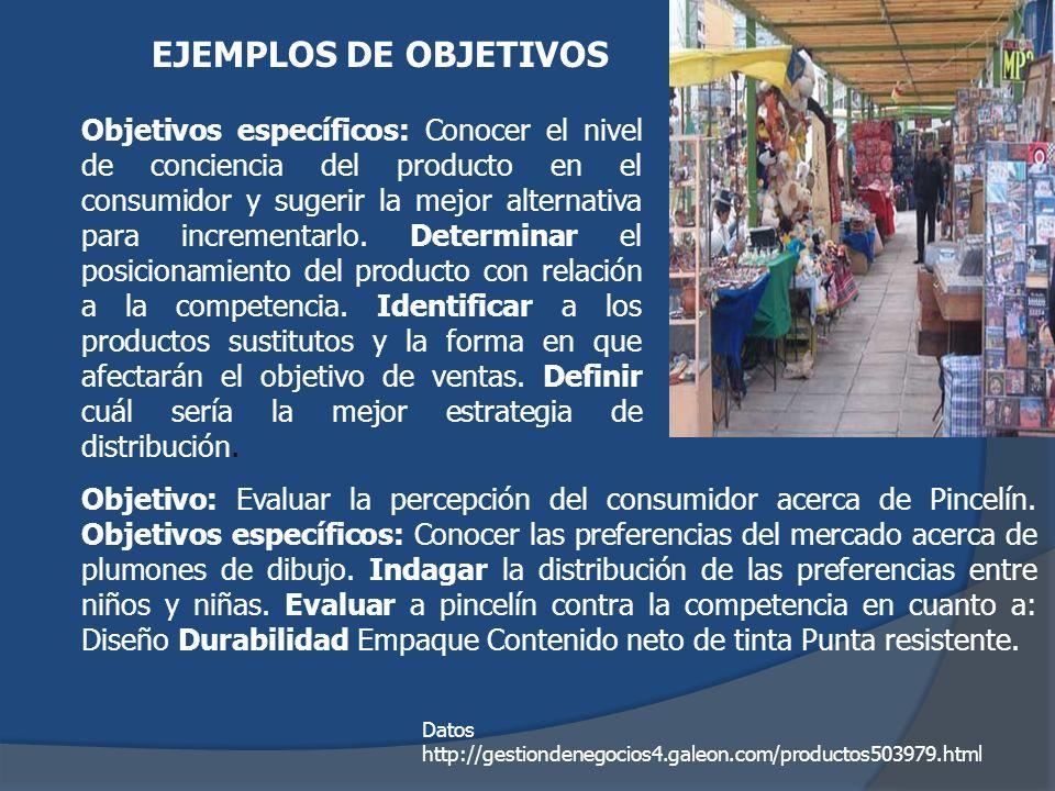 Objetivos específicos: Conocer el nivel de conciencia del producto en el consumidor y sugerir la mejor alternativa para incrementarlo. Determinar el p