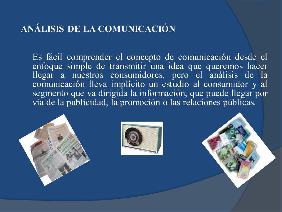 ANÁLISIS DE LA COMUNICACIÓN Es fácil comprender el concepto de comunicación desde el enfoque simple de transmitir una idea que queremos hacer llegar a