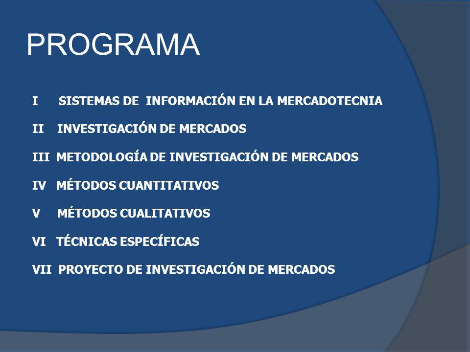 PROGRAMA I SISTEMAS DE INFORMACIÓN EN LA MERCADOTECNIA II INVESTIGACIÓN DE MERCADOS III METODOLOGÍA DE INVESTIGACIÓN DE MERCADOS IV MÉTODOS CUANTITATI