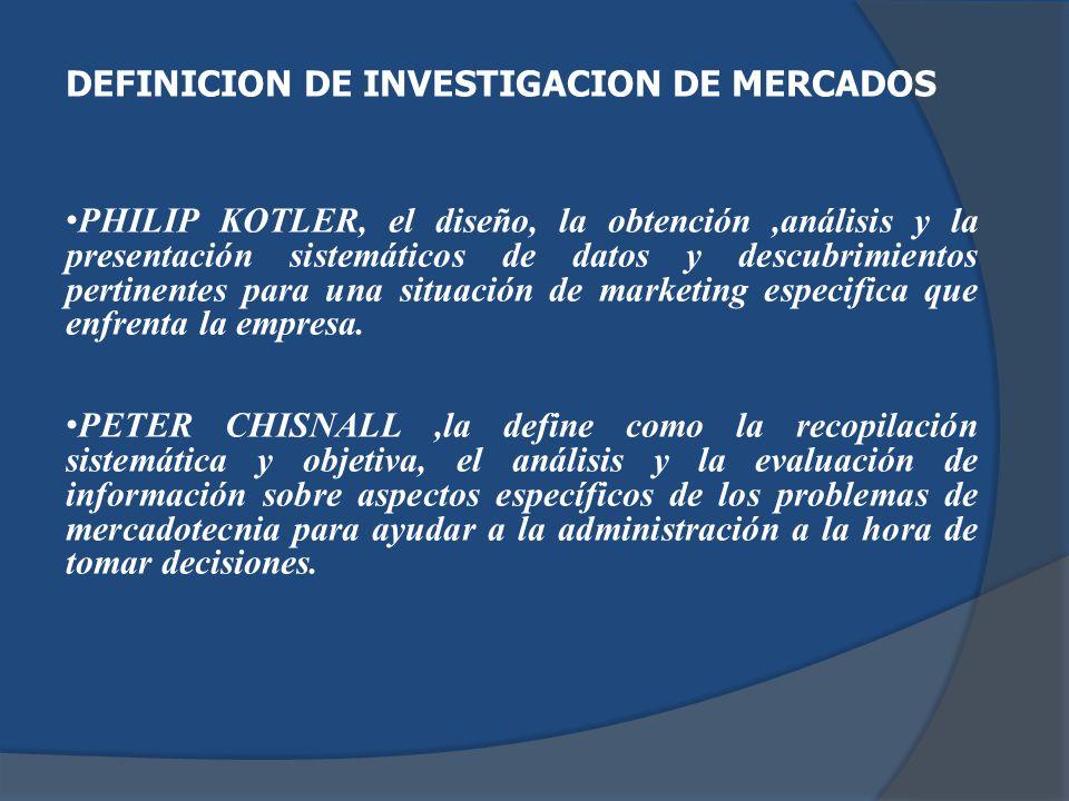 DEFINICION DE INVESTIGACION DE MERCADOS PHILIP KOTLER, el diseño, la obtención,análisis y la presentación sistemáticos de datos y descubrimientos pert