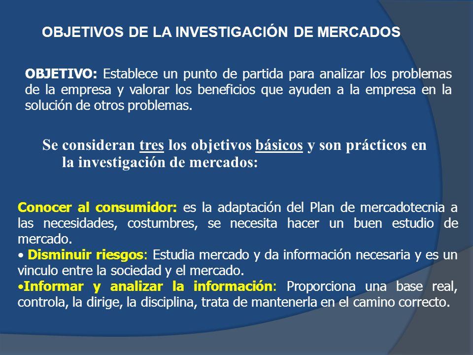 OBJETIVOS DE LA INVESTIGACIÓN DE MERCADOS Se consideran tres los objetivos básicos y son prácticos en la investigación de mercados: OBJETIVO: Establec